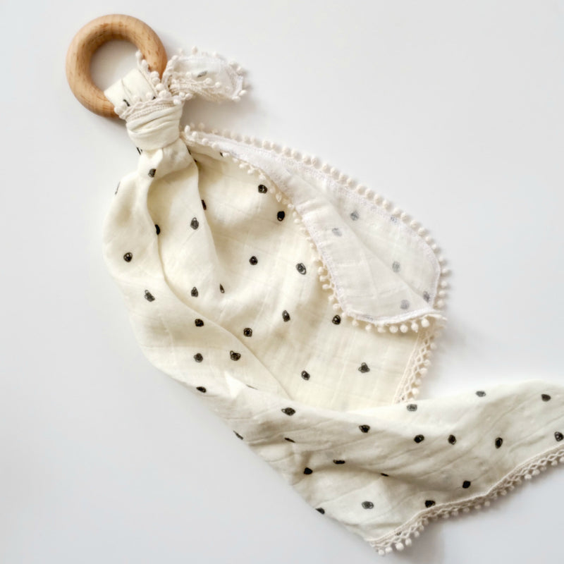 Black Polka Dot Natural- Organic Muslin Lovey with Teething Ring,Pretty Please Boutique  - Wild Dill
