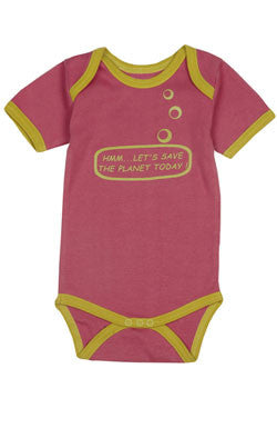 Ideo Let's Save the Planet Pink Organic Onesie 3m, Baby Wear - Ideo, Wild Dill