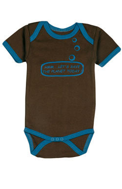 Ideo Let's Save the Planet Brown Organic Onesie 3-6 months, Baby Wear - Ideo, Wild Dill