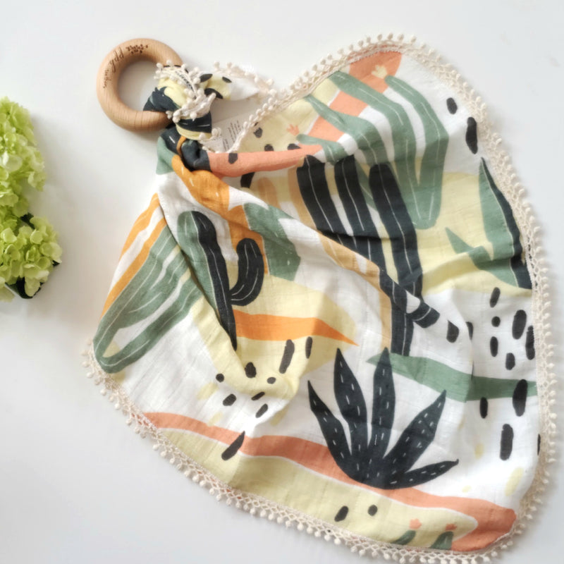 Desert Cactus -  Organic Muslin Lovey with Teething Ring,Pretty Please Boutique  - Wild Dill