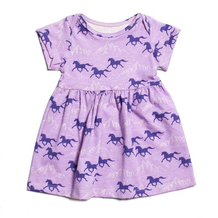 Winter Water Factory Wild Horses Lavender Dress , Baby Wear - Winter Water Factory, Wild Dill