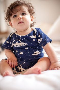 Outerspace Summer Organic Romper , Baby Wear - Winter Water Factory, Wild Dill  - 2