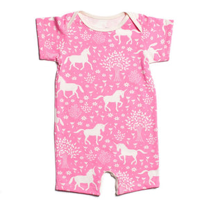 Pink Unicorn Organic Romper by Winter Water Factory,Winter Water Factory  - Wild Dill