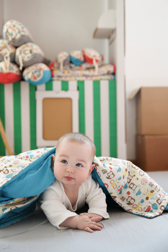 Turquoise Blue- Organic Padded Blanket w/ storage bag , Crib Bedding - Mezoome Designs, Wild Dill  - 3