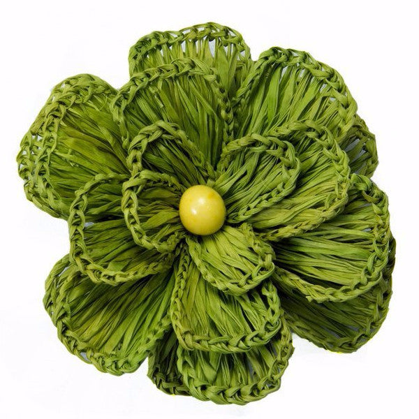 Fair Trade Green Flower Hair Clip,Dsenyo  - Wild Dill