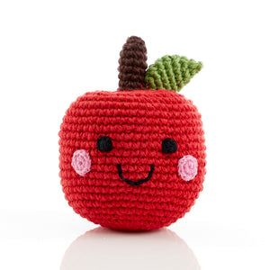 Smiling Apple Knitted Baby Rattle - Fair Trade,Pebble  - Wild Dill