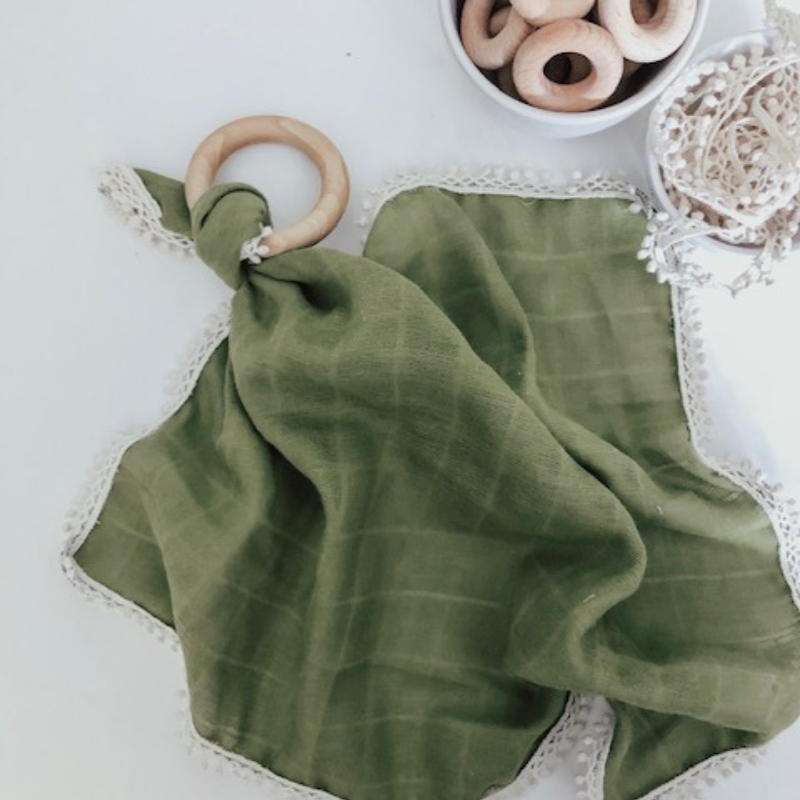 Olive Gauze Lovey with Teething Ring,Pretty Please Boutique  - Wild Dill