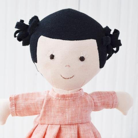 Nell Organic Girl Doll by Hazel Village - Coral Dress