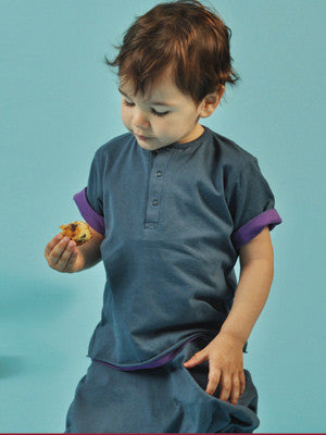 Ideo Organic Reversable Tee 6m / blue/purple, Toddler Tee - Ideo, Wild Dill  - 1