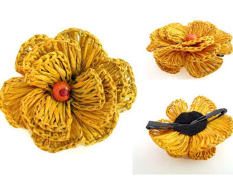 Fair Trade Yellow Flower Hair Clip,Dsenyo  - Wild Dill