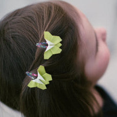 Green - Origami Butterfly Hair Clip Set , Accessories - moran alhalel, Wild Dill  - 1