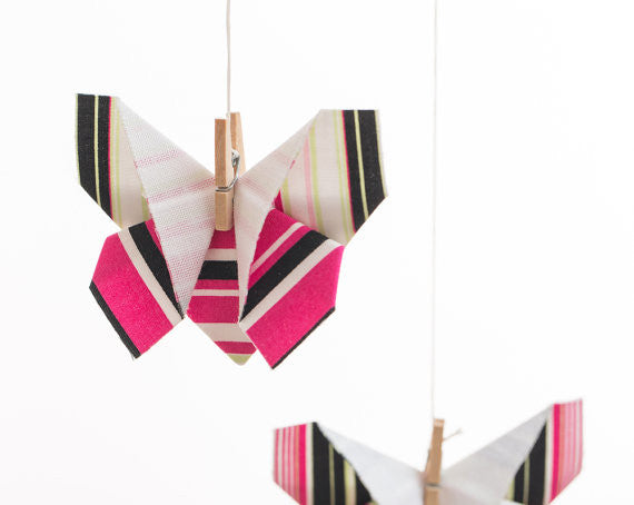 Striped Butterfly Origami Mobile , Nursery Decor - moran alhalel, Wild Dill  - 3