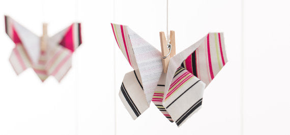 Striped Butterfly Origami Mobile , Nursery Decor - moran alhalel, Wild Dill  - 4