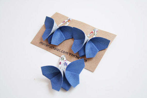 Blue Origami Butterfly Hair Clip Set,moran alhalel  - Wild Dill