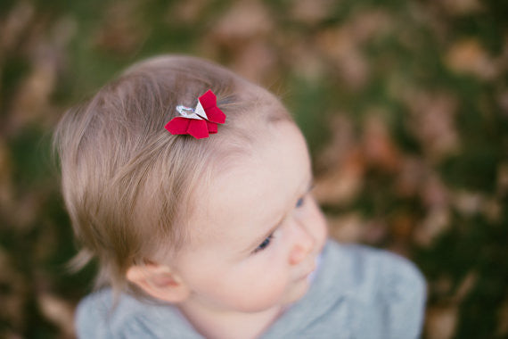 Red Butterfly Origami Hair Clips , Accessories - moran alhalel, Wild Dill  - 2