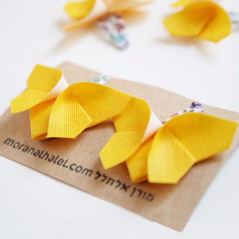 Yellow Origami Butterfly Hair Clips , Accessories - moran alhalel, Wild Dill  - 1