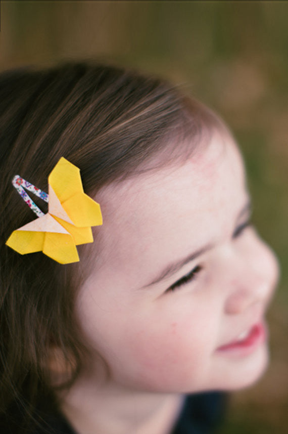 Yellow Origami Butterfly Hair Clips Wild Dill