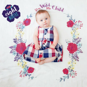 Stay Wild My Child Floral - Baby's First Year Milestone Swaddle & Cards,Lulujo Baby  - Wild Dill