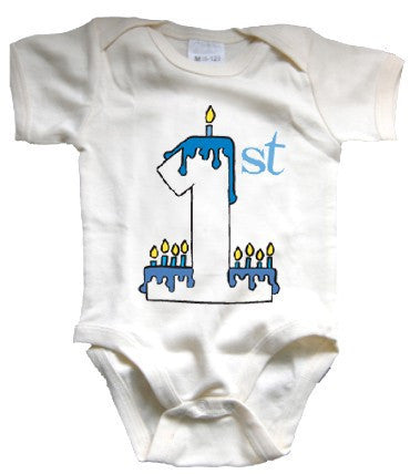 Baby's First Chanukah Organic Bodysuit 0-6m, Hebrew Baby Collection - Hebrew Baby Collection, Wild Dill  - 2