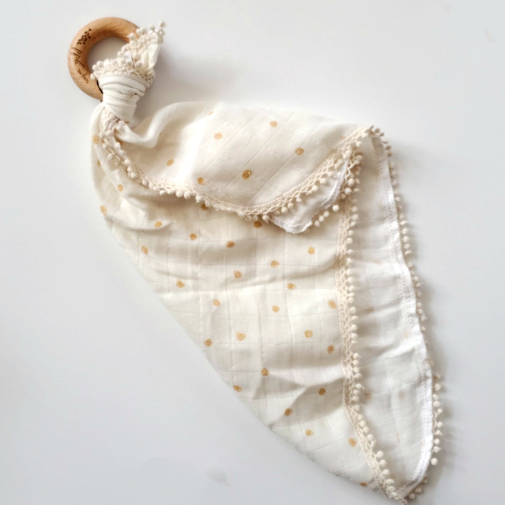 Natural Polka Dot - Organic Muslin Lovey with Teething Ring,Pretty Please Boutique  - Wild Dill