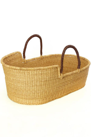 Natural Moses Basket Bassinet with Leather Handles,Swahili Modern  - Wild Dill