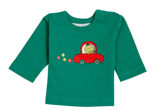 Ideo Flower Car Green Long Sleeve Organic Tee 6 months, Toddler Wear - Ideo, Wild Dill  - 1