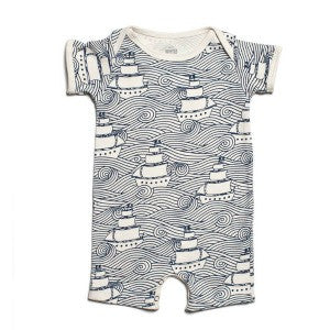 Organic Cotton Summer Romper High Seas Print 6 months, Baby Wear - Winter Water Factory, Wild Dill  - 1