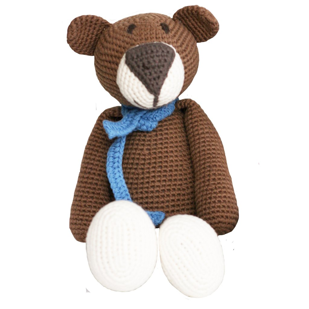 Atty Brown Bear Organic Stuffed Animal,BebeMoss  - Wild Dill