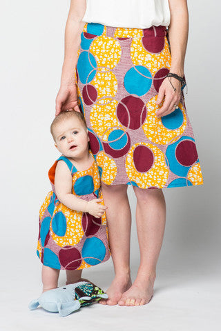 Yellow & Red Circles African Wax print Toddler Sundress,Dsenyo  - Wild Dill