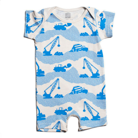 blue construction site romper