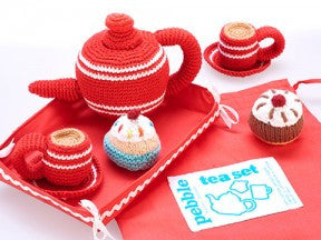 Fair Trade Knit Tea Set , Play - Pebble, Wild Dill  - 2