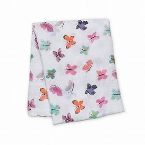 Butterfly Watercolor Cotton Swaddle Blanket,Lulujo Baby  - Wild Dill