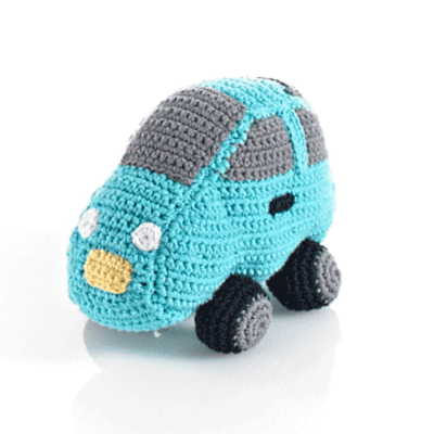 Turquoise Car Fair Trade Knitted Baby Rattle , Play - Pebble, Wild Dill  - 2