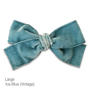 Vintage Velvet Hair Bows - Large - Limited Edition,MooG Clips  - Wild Dill