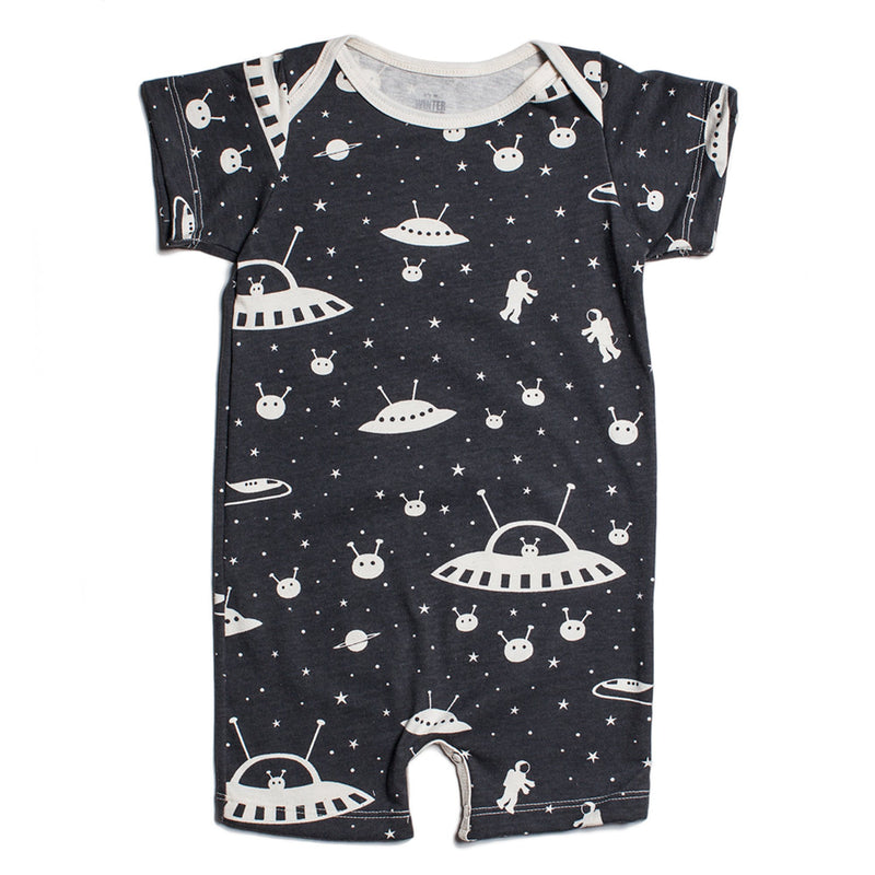 Black Outerspace Summer Organic Romper by Winter Water Factory,Winter Water Factory  - Wild Dill