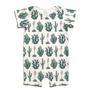 Green Cactus - Summer Organic Romper by Winter Water Factory,Winter Water Factory  - Wild Dill