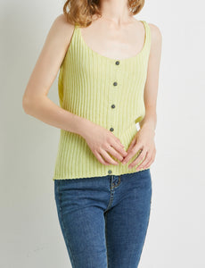 """Alina"" Women Cotton Blend Knitted Cardigan Vest- Lemon Grass"