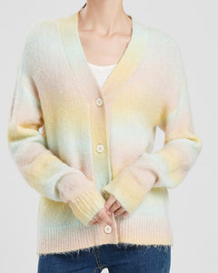 """Finley"" Acrylic Wool Blend Cotton Candy Knitted Cardigan"