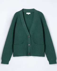 """Gianna"" Metallic Knitted Cardigan With Front Pockets"