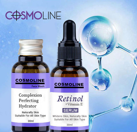 COSMOLINE Face Facial Serum Retinol + Vitamin E Serum Anti Wrinkle Anti Acne Anti Aging Skin Care 30ml Bottle + FACE CLEANSER
