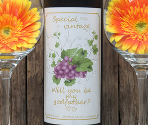 Will you be my godfather? Wine bottle sticker