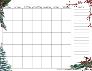 PDF Blank Calendar With Notes - English - Berries, Starting on Sunday
