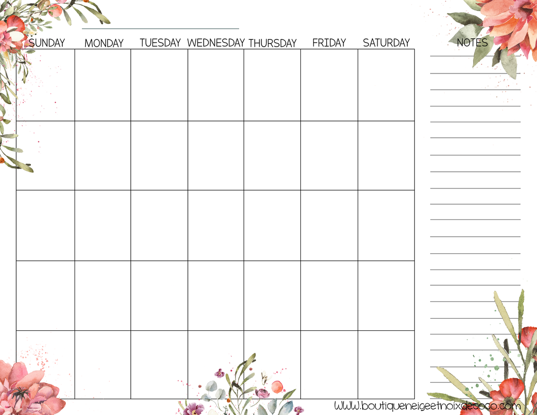 PDF Blank Calendar With Notes - English - Flower, Starting on Sunday