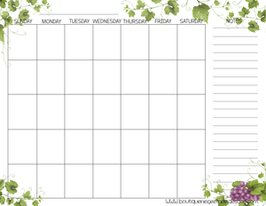 PDF Blank Calendar With Notes - English - Vine, Starting on Sunday