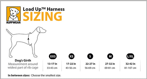 Load Up Harness Size Guide