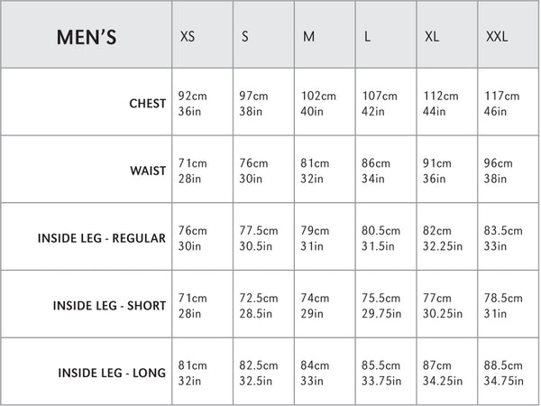 Montane Mens Size Guide