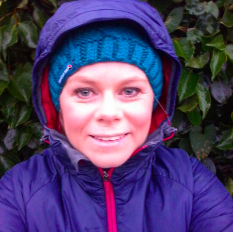 Jen really cosy and warm in her montane prism jacket in christchurch new zealead