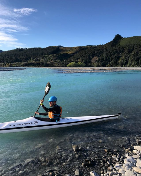 Odelios in the waimak river on a ruahine kayak