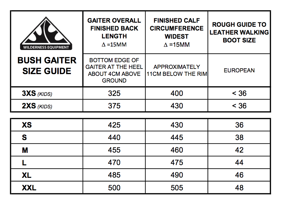 Wilderness Equipment Bush Gaiter Sizing Chart Charol and Black available at Further Faster NZ