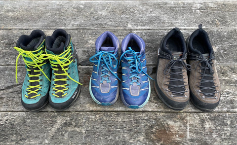 three different types of hiking footwear